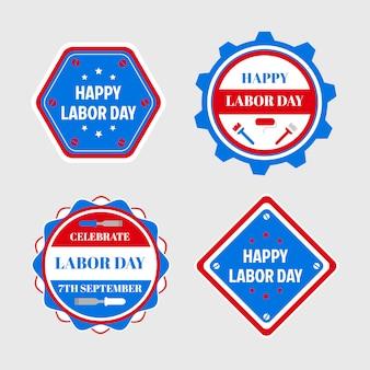 Feliz dia do trabalho emblemas e etiquetas de design, promoção de venda.