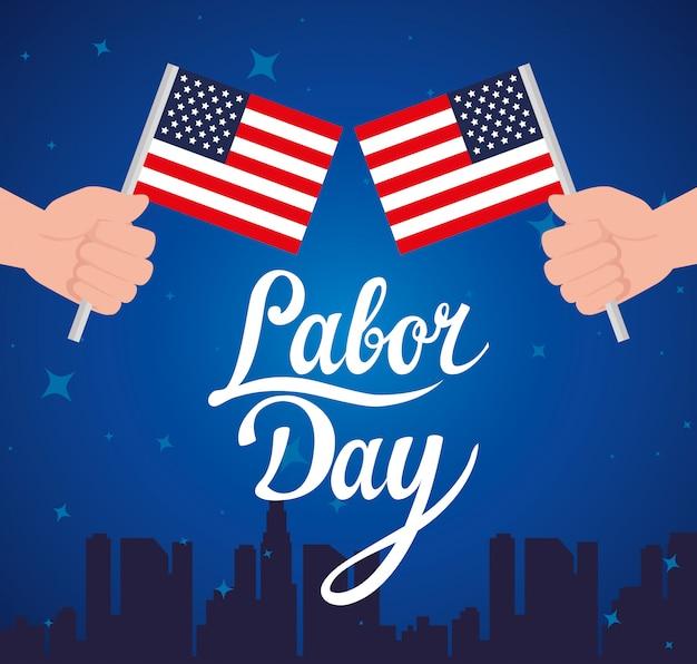 Feliz dia do trabalho feriado cartão com as mãos e bandeiras nacionais dos estados unidos
