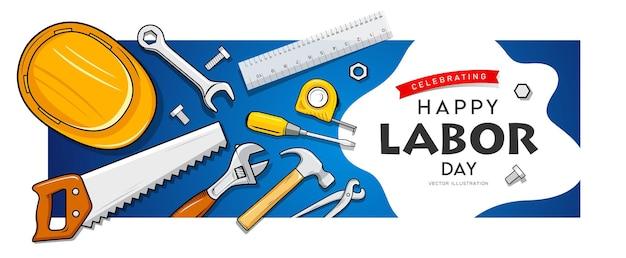 Feliz dia do trabalho ferramentas de construção banner design em fundo azul ilustração em vetor eps 10