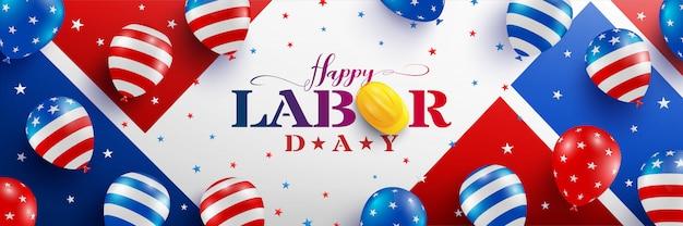 Feliz dia do trabalho modelo de cartaz. eua celebração do dia do trabalho com bandeira americana balões, estrela e ferramentas.