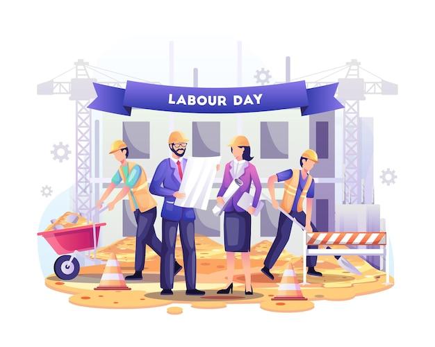 Feliz dia do trabalho. trabalhadores da construção civil estão trabalhando em uma ilustração de um edifício