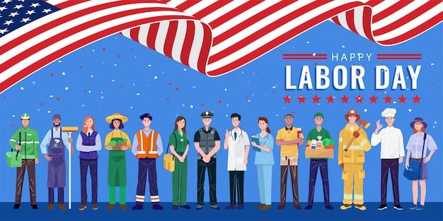 Feliz dia do trabalho. várias ocupações pessoas em pé com a bandeira americana.