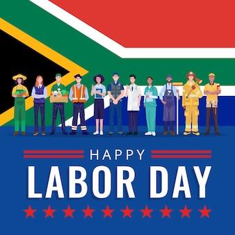 Feliz dia do trabalho. várias ocupações pessoas em pé com a bandeira da áfrica do sul.