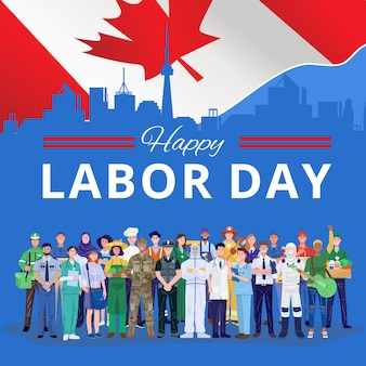 Feliz dia do trabalho. várias pessoas de ocupações em pé com a bandeira do canadá.