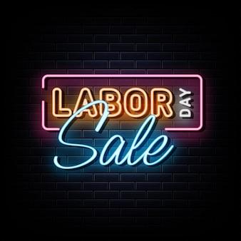 Feliz dia do trabalho venda sinal de néon símbolo de néon