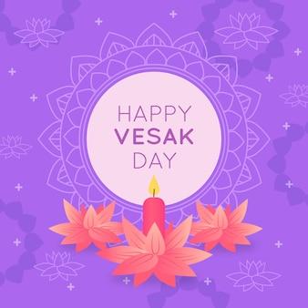 Feliz dia do vesak indiano e flores cor de rosa