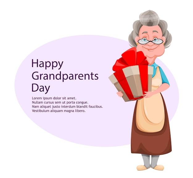 Feliz dia dos avós. cartão de felicitações. mulher bonita e sorridente.