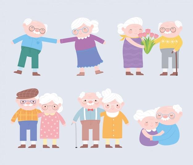 Feliz dia dos avós, personagens de avós e avós fofos cartão dos desenhos animados