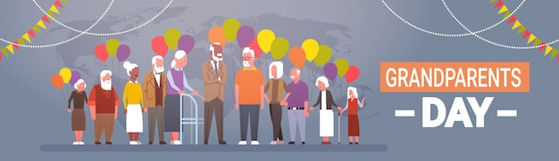 Feliz dia dos avós saudação cartão banner mix corrida grupo de pessoas sênior celebração