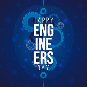 Feliz dia dos engenheiros com engrenagens