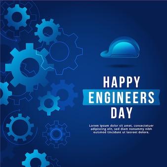 Feliz dia dos engenheiros com rodas de engrenagem e capacete