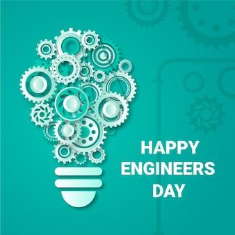Feliz dia dos engenheiros com rodas de engrenagem
