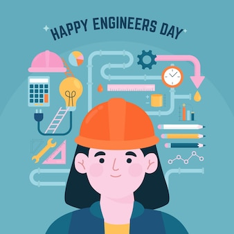 Feliz dia dos engenheiros saudando a ilustração