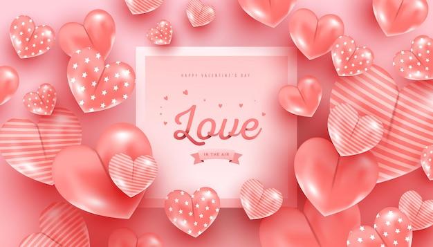 Feliz dia dos namorados. amo o texto em estilo de papel com balões de ar realistas em forma de coração