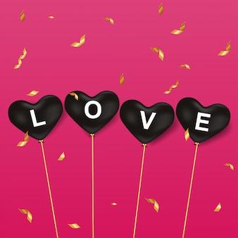 Feliz dia dos namorados amor balões vector