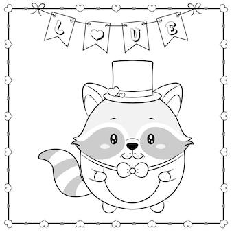 Feliz dia dos namorados animal bonito bebê guaxinim desenhando esboço para colorir com moldura de corações e banner de amor