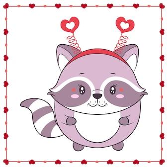 Feliz dia dos namorados animal bonito bebê guaxinim desenho com moldura de coração