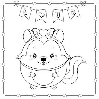 Feliz dia dos namorados animal fofo bebê esquilo desenhando esboço para colorir com moldura de corações e banner de amor