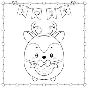 Feliz dia dos namorados animal fofo veado bebê desenho esboço para colorir com moldura de corações e banner de amor
