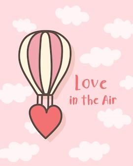 Feliz dia dos namorados balão de ar quente