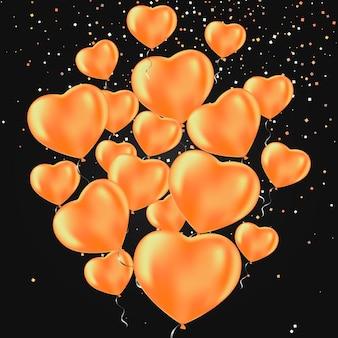 Feliz dia dos namorados. balões de festa foscos em forma de coração.