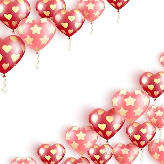 Feliz dia dos namorados. balões de gel vermelhos e rosa voando em um padrão de estrelas e corações dourados
