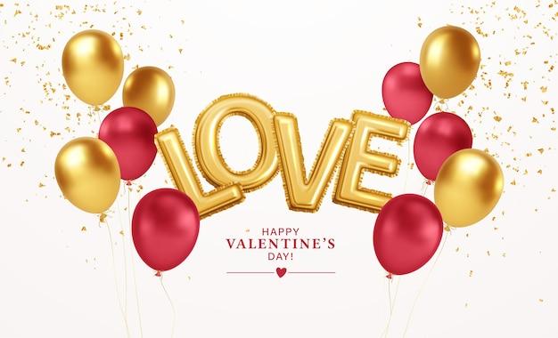 Feliz dia dos namorados balões ouro e vermelho com a inscrição de balões de hélio folha de ouro