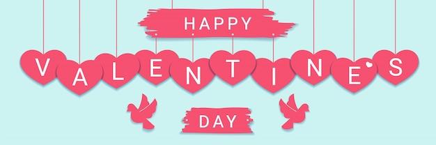 Feliz dia dos namorados bandeira de parabéns com saudação sinal nos corações rosa com pombas.
