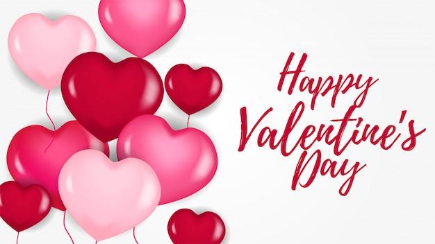 Feliz dia dos namorados banner com balão de coração rosa