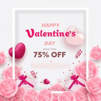 Feliz dia dos namorados banner com corações de luxo vermelho e rosa, caixa de presentes, fita e elementos encantadores.