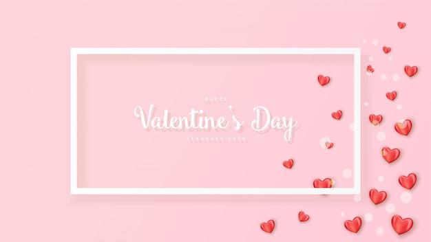 Feliz dia dos namorados banner com corações realistas