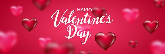 Feliz dia dos namorados banner com letras de texto e corações turva sobre fundo vermelho.