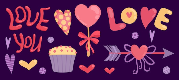 Feliz dia dos namorados banner com te amo letras, seta e cupcake