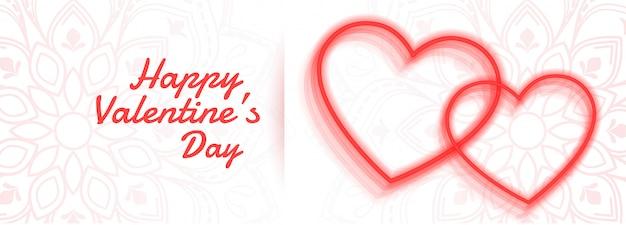 Feliz dia dos namorados banner de corações de linha dois