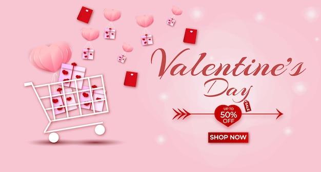 Feliz dia dos namorados banner de venda com corações