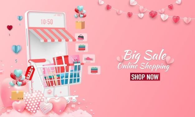 Feliz dia dos namorados banner de venda. loja de compras online com celular