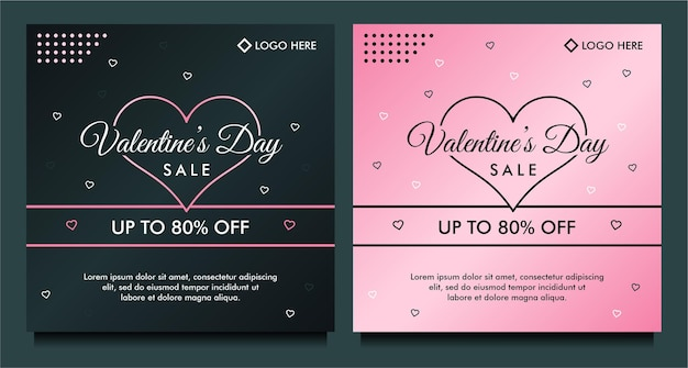Feliz dia dos namorados banner de venda, modelo de postagem de mídia social com conceito de coração rosa