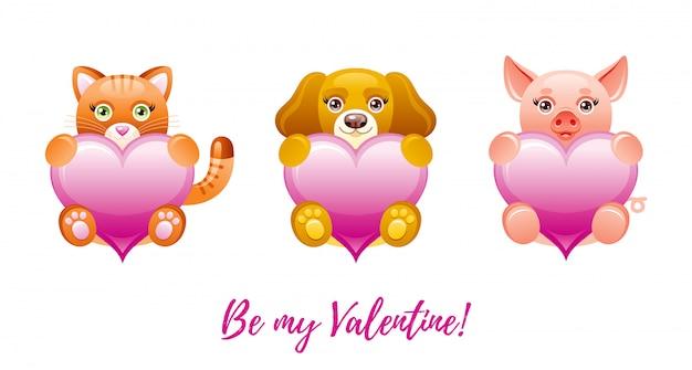 Feliz dia dos namorados banner. desenhos animados corações bonitos com animais de brinquedo - gato, cachorro, porco.