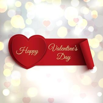 Feliz dia dos namorados banner no fundo desfocado com corações e círculos de bokeh.
