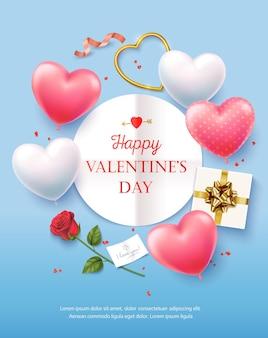 Feliz dia dos namorados. banner, panfleto, pôster, cartão com realista