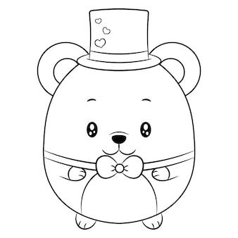 Feliz dia dos namorados bebê fofo urso de pelúcia desenhando esboço para colorir