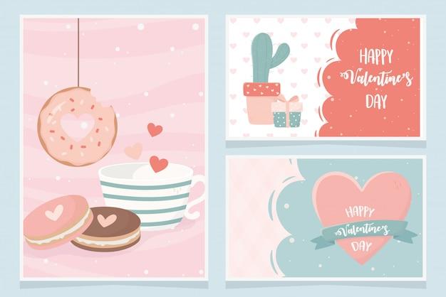 Feliz dia dos namorados cacto presente cookies donut coração amor cartão conjunto