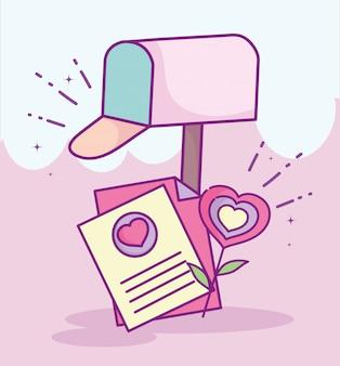Feliz dia dos namorados, caixa de correio carta cartão flor forma coração amor ilustração vetorial