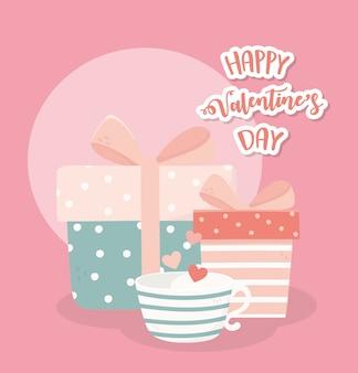 Feliz dia dos namorados caixas de presente bonito e xícara de café amor corações