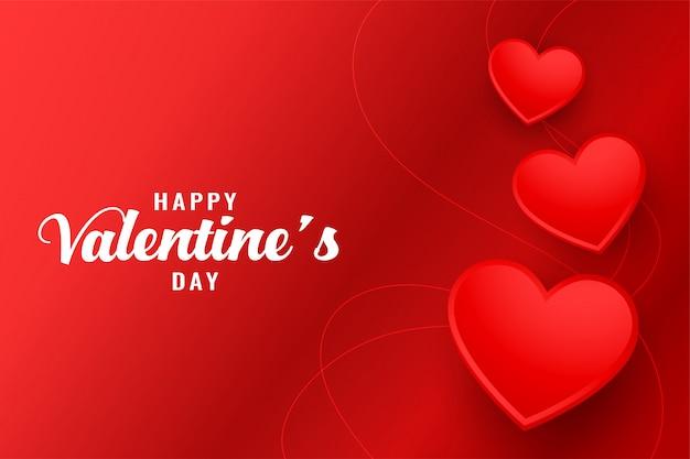 Feliz dia dos namorados cartão bonito corações vermelhos