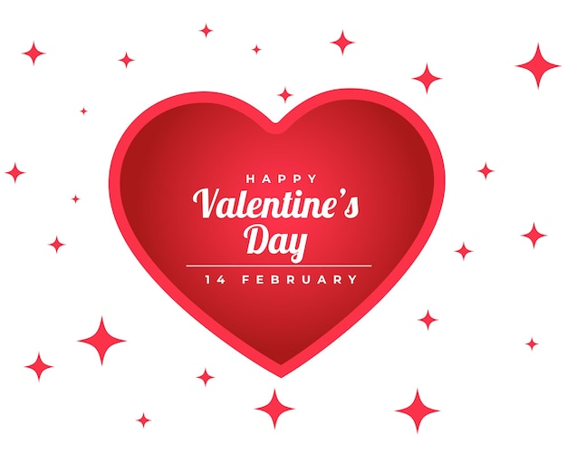 Feliz dia dos namorados cartão cintilante com coração vermelho