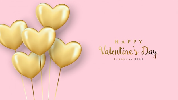Feliz dia dos namorados cartão com balão de amor 3d colorido de ouro