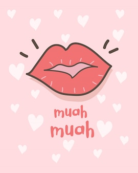 Feliz dia dos namorados cartão com batom beijos