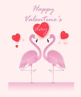 Feliz dia dos namorados cartão com casal flamingo.