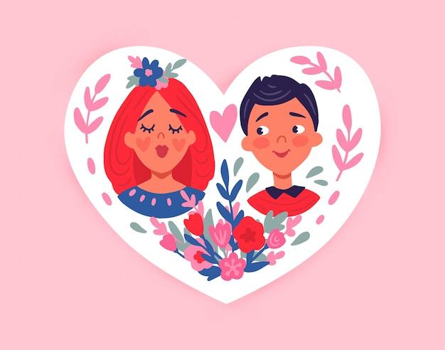 Feliz dia dos namorados. cartão com casal fofo, corações, flores.